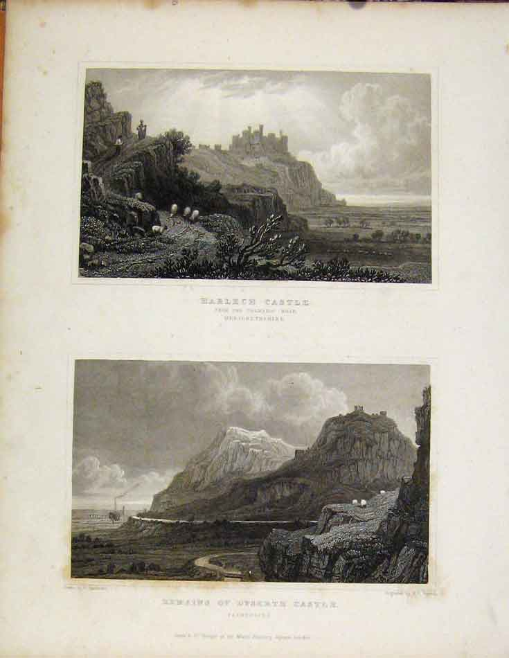 Print Harlech Castle Merionethshire Remains Dyserth Wales 978601 Old Original