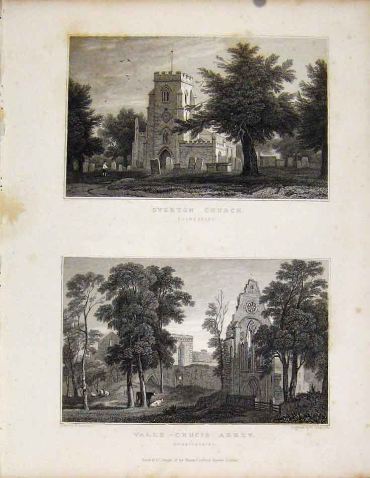 Print Overton Church Flintshire Valle Crucis Abbey Wales 018601 Old Original