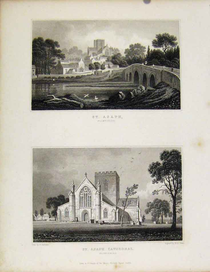 Print St Asaph Flintshire St Asaph Cathedral Wales 058601 Old Original