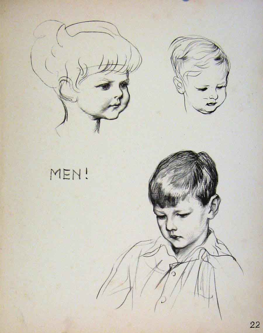 Print Important People By Dowd Men Face Sketches 229621 Old Original