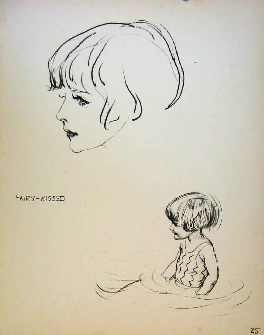 Print Important People By Dowd Fairy Kissed Young Girl 259621 Old Original