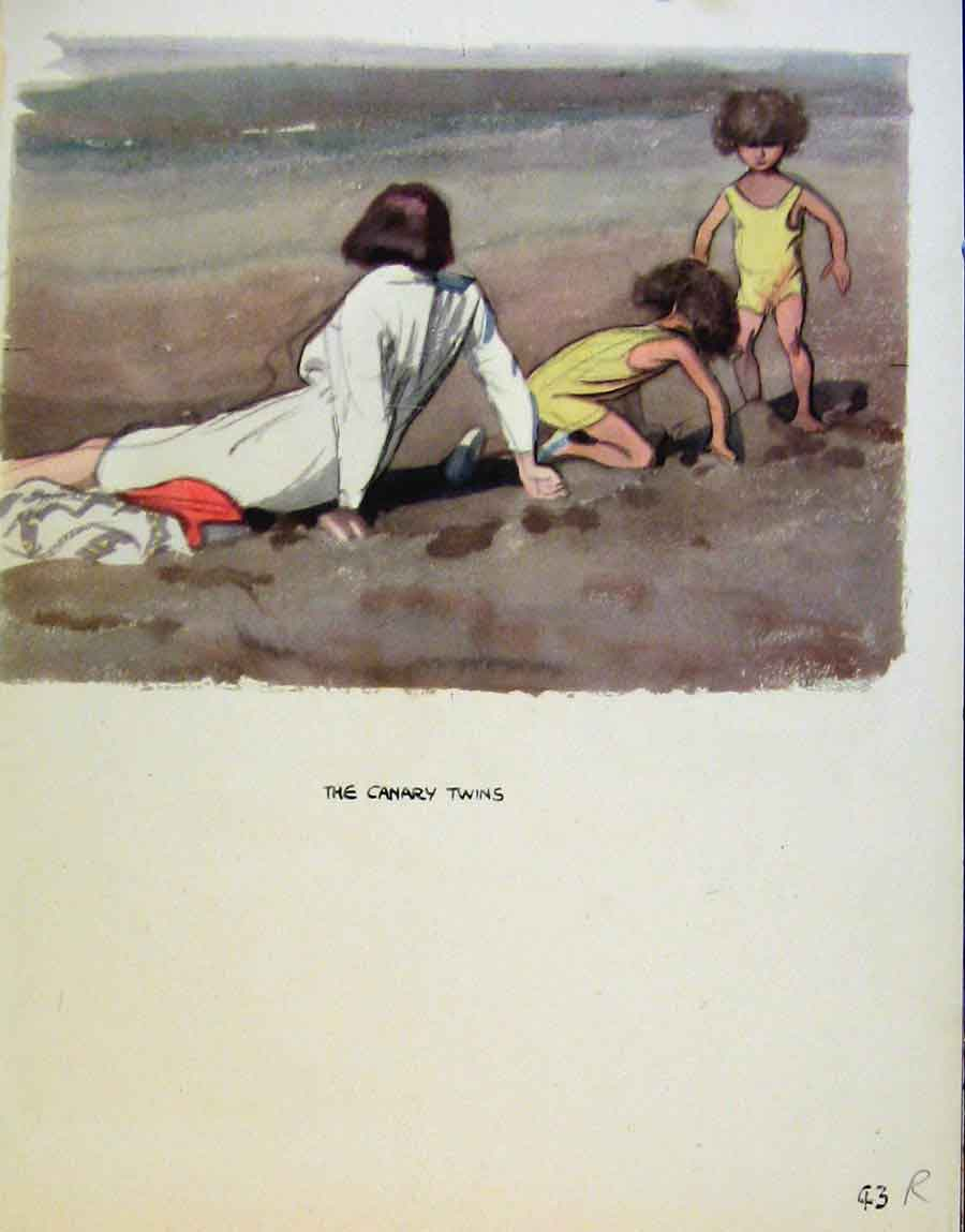 Print Family On The Beach And At A Lake By J Dowd & B Spender 43R8651 Old Original