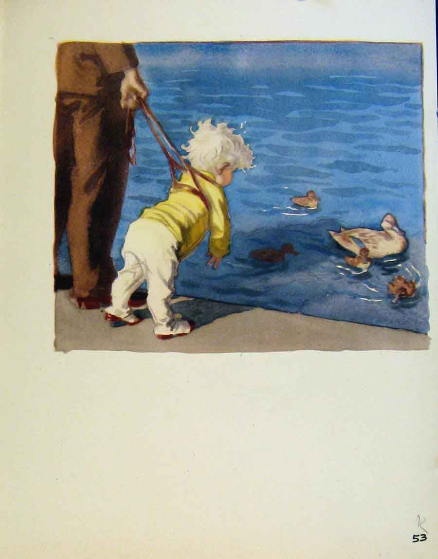 Print At Waters Edge Ducks And Boats By J Dowd & B Spender 53R8651 Old Original