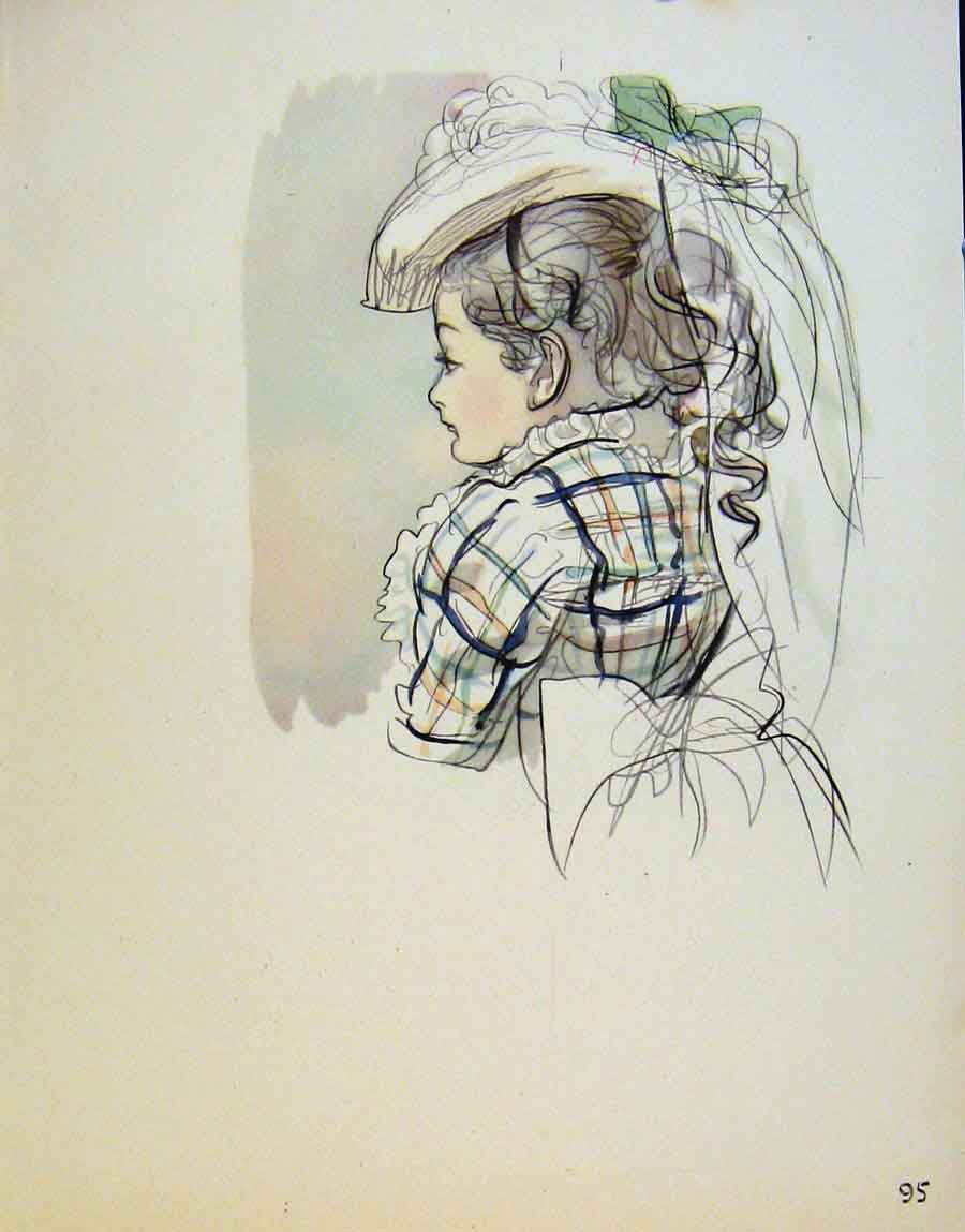 Print Young Girl Wearing Hat By J Dowd & B Spender 958651 Old Original