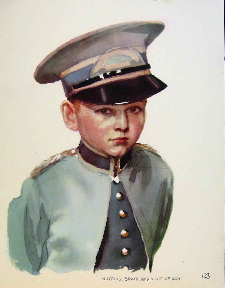 Print Buttons Braid Boy By J Dowd & B Spender Pen Drawing 238651 Old Original