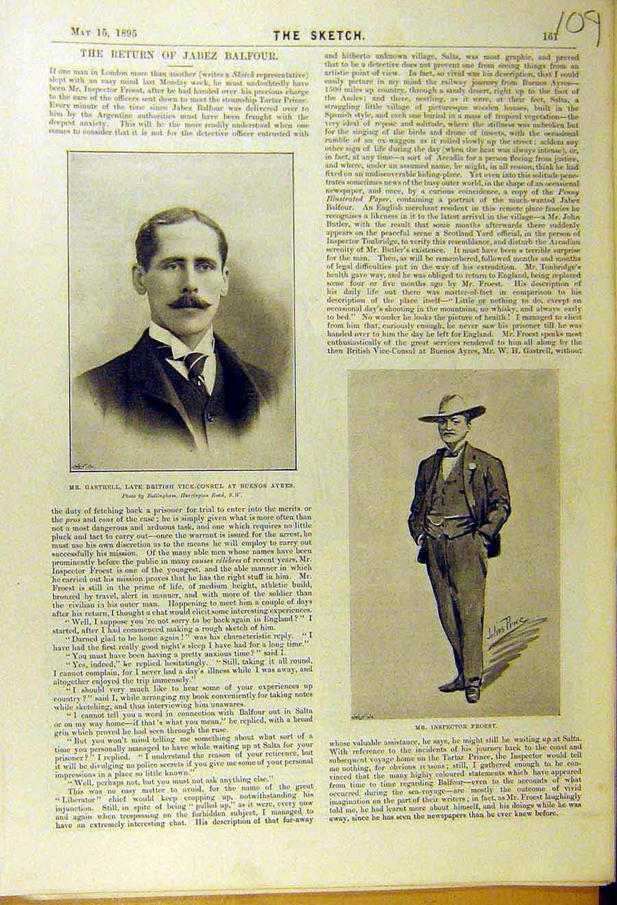 Print 1895 Portrait Gastrell Buenos Ayres Inspector Froest 098661 Old Original