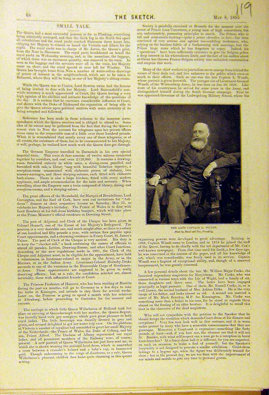 Print 1895 Portrait Wundt Captain 198661 Old Original
