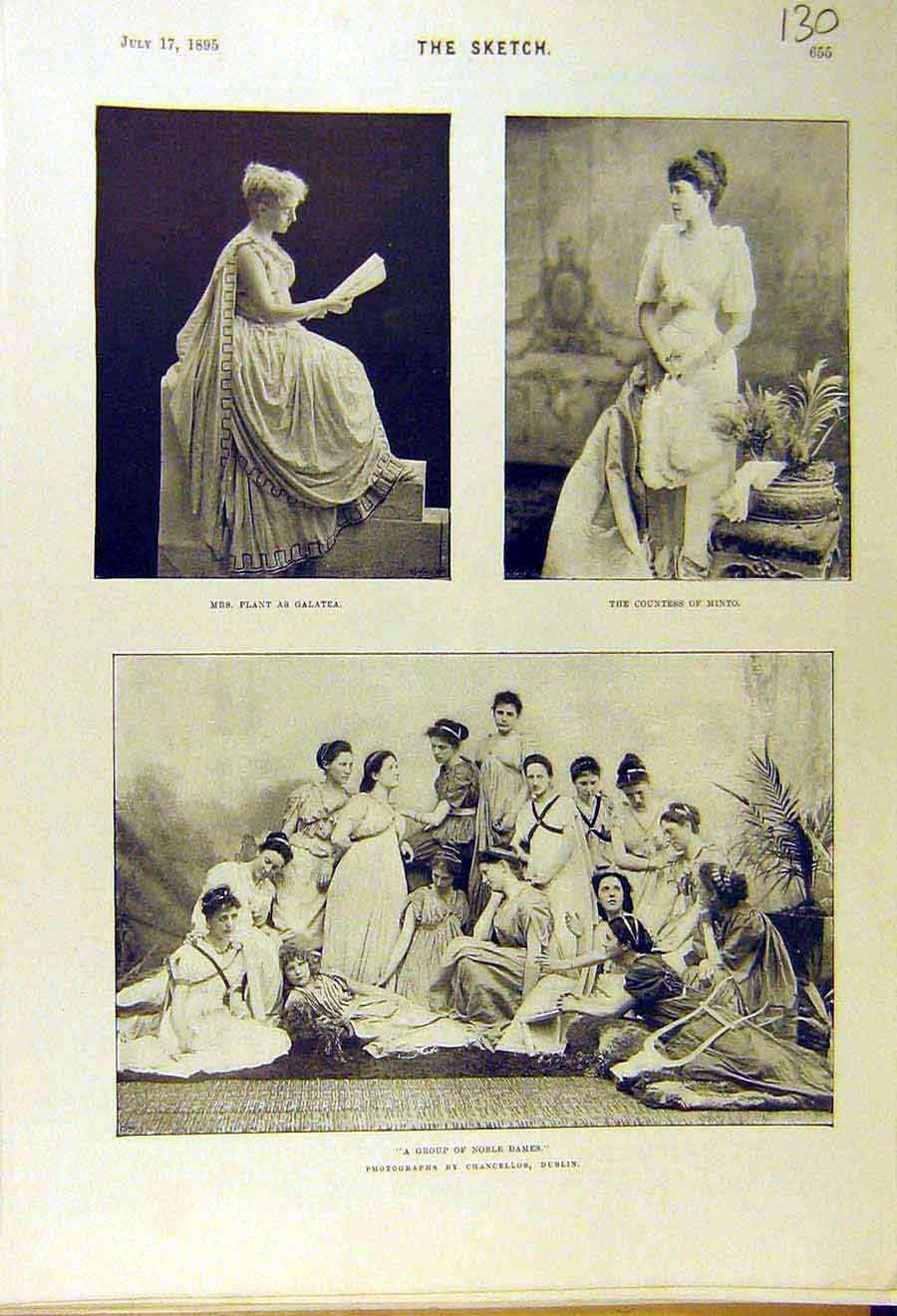 Print 1895 Theatre Plant Galatea Minto Countess Dames 308661 Old Original