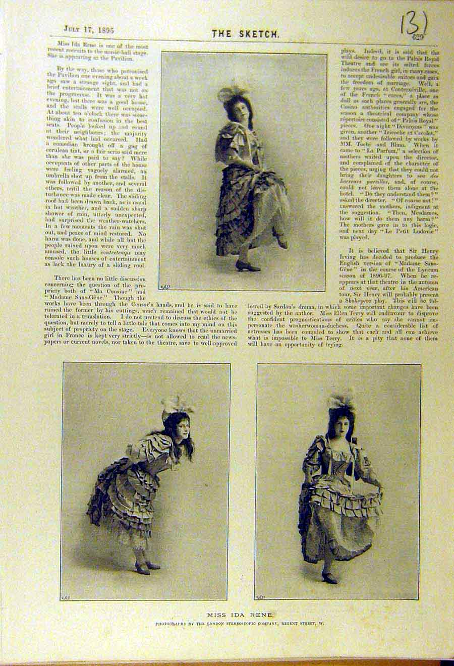 Print 1895 Ida-Rene Actress Theatre Music-Hall Stage Pavilion 318661 Old Original