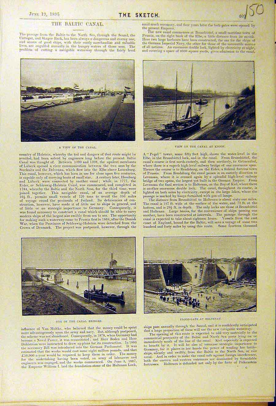Print 1895 Baltic Canal Knoop Bridge Flood-Gate Holtenau 508661 Old Original