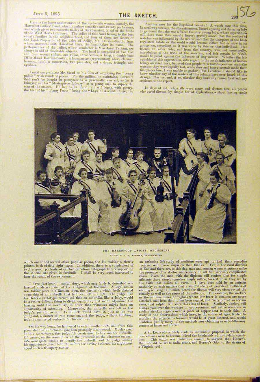 Print 1895 Haresfoot Ladies Orchestra Musicians School 568661 Old Original