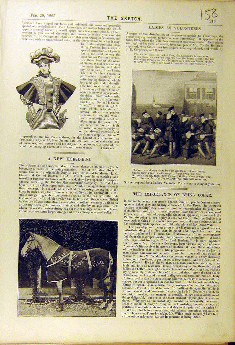 Print 18995 Ladies Volunteers Horse-Rug Chase Geddes 588661 Old Original