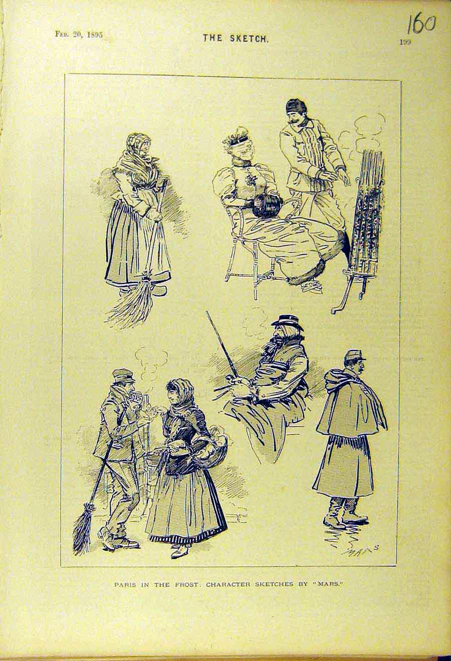 Print 1895 Paris Frost Character Sketches Mars Comedy 608661 Old Original