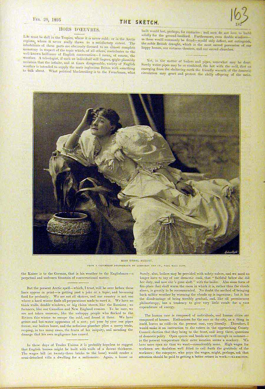 Print 1895 Ethel-Sydney Lady Woman Portrait 638661 Old Original
