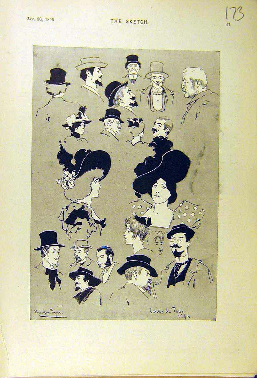 Print 1895 Sketches Cariacatures Casino Paris France Head 738661 Old Original