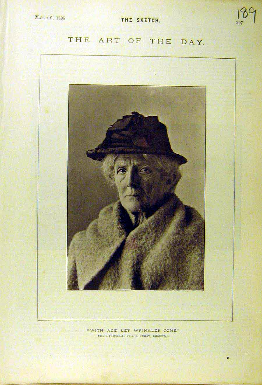 Print 1895 Old-Woman Portrait Wrinkles Age 898661 Old Original