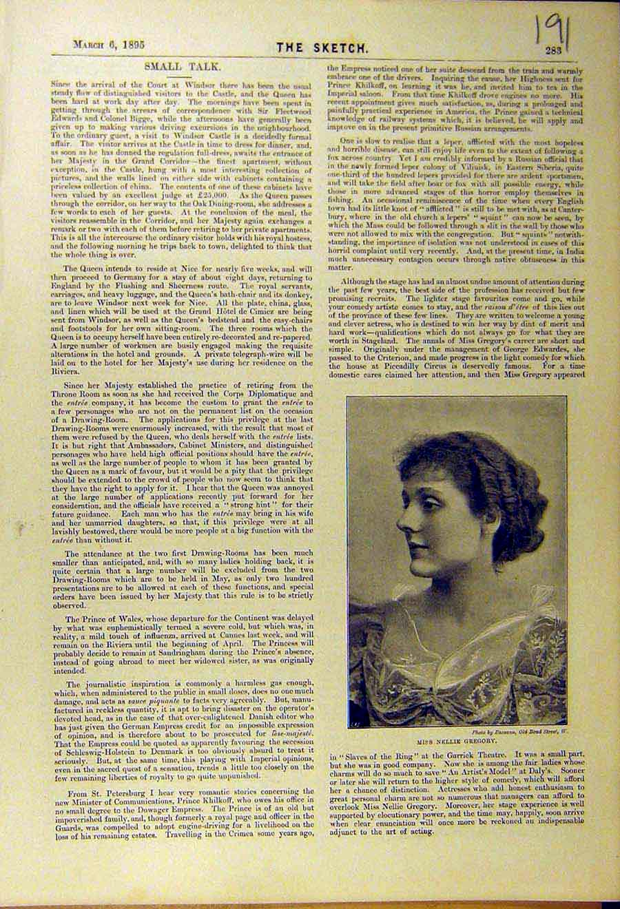 Print 1895 Portrait Nellie Gregory Theatre Actress 918661 Old Original
