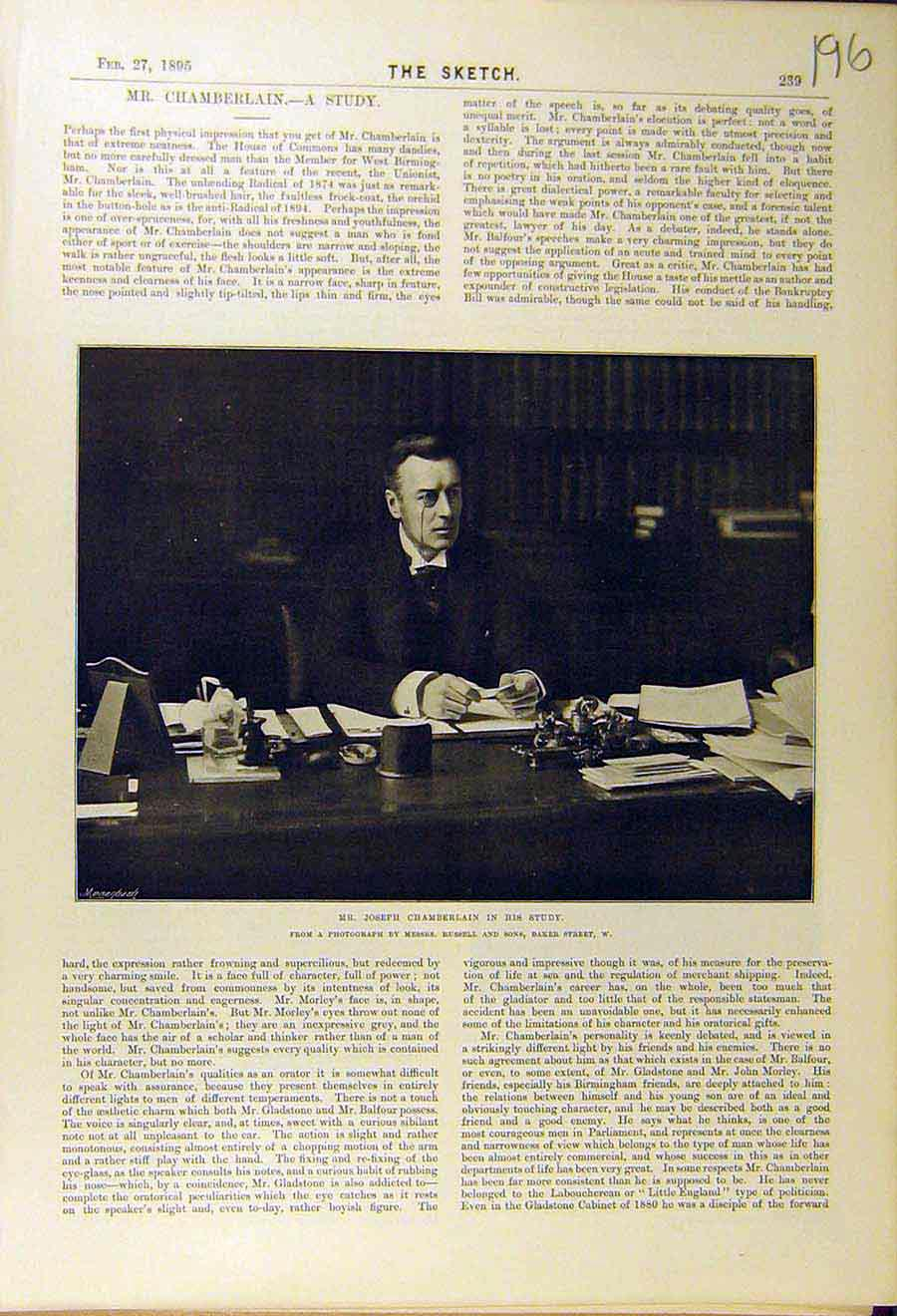 Print 1895 Portrait Joseph-Chamberlain Study House Commons 968661 Old Original