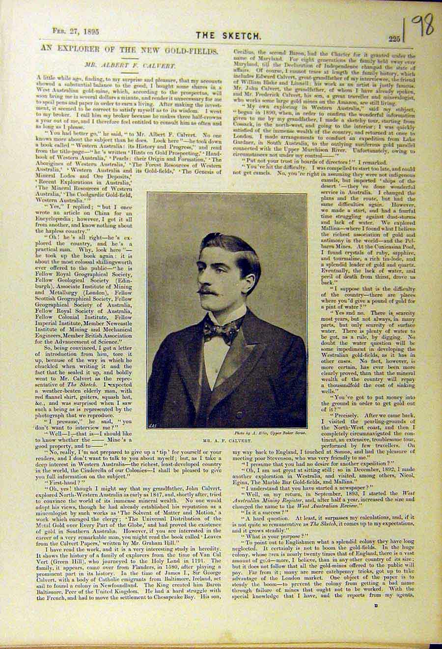 Print 1895 Portrait Calvert Explorer Gold-Fields 988661 Old Original