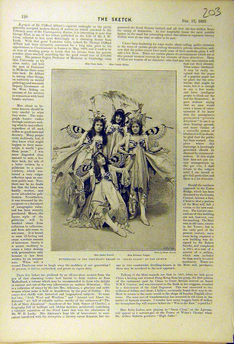 Print 1895 Butterflies Farrell Temple Lyceum Theatre Actress 038661 Old Original