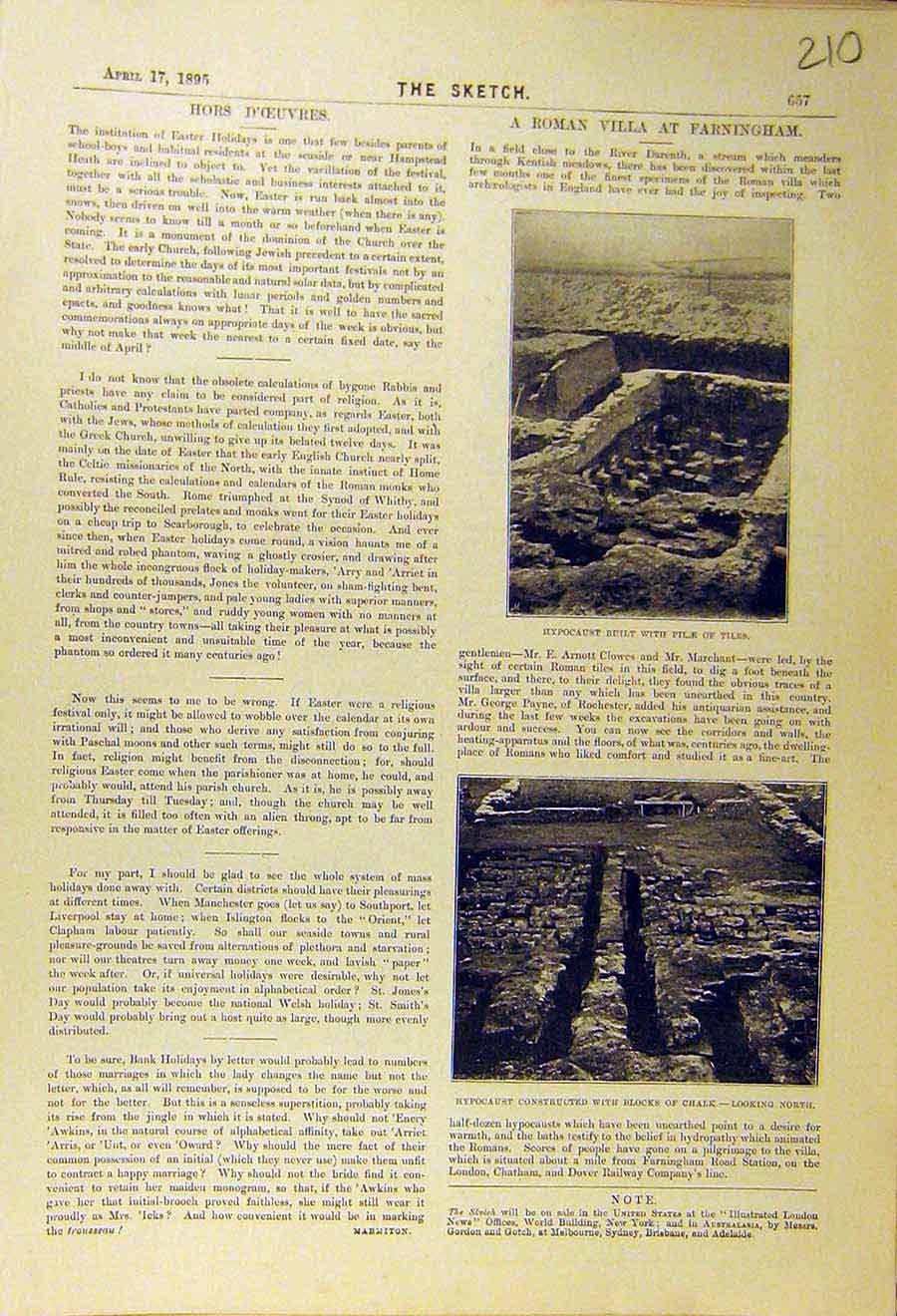 Print 1895 Hypocaust Tiles Roman Villa Farningham Chalk Ruins 108661 Old Original