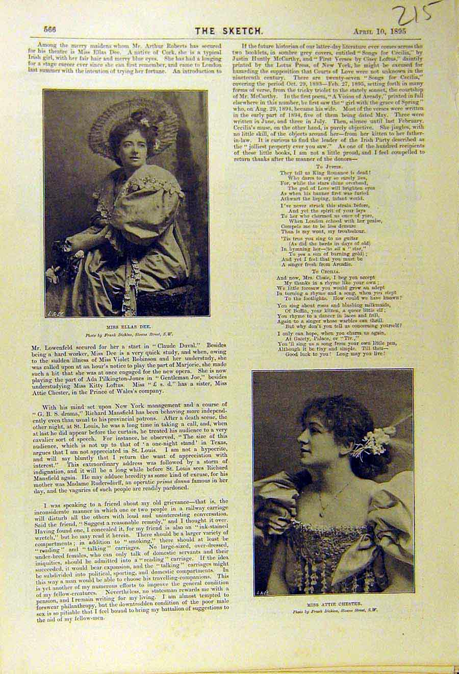 Print 1895 Portrait Ellas-Dee Attie-Chester Actress Theatre 158661 Old Original