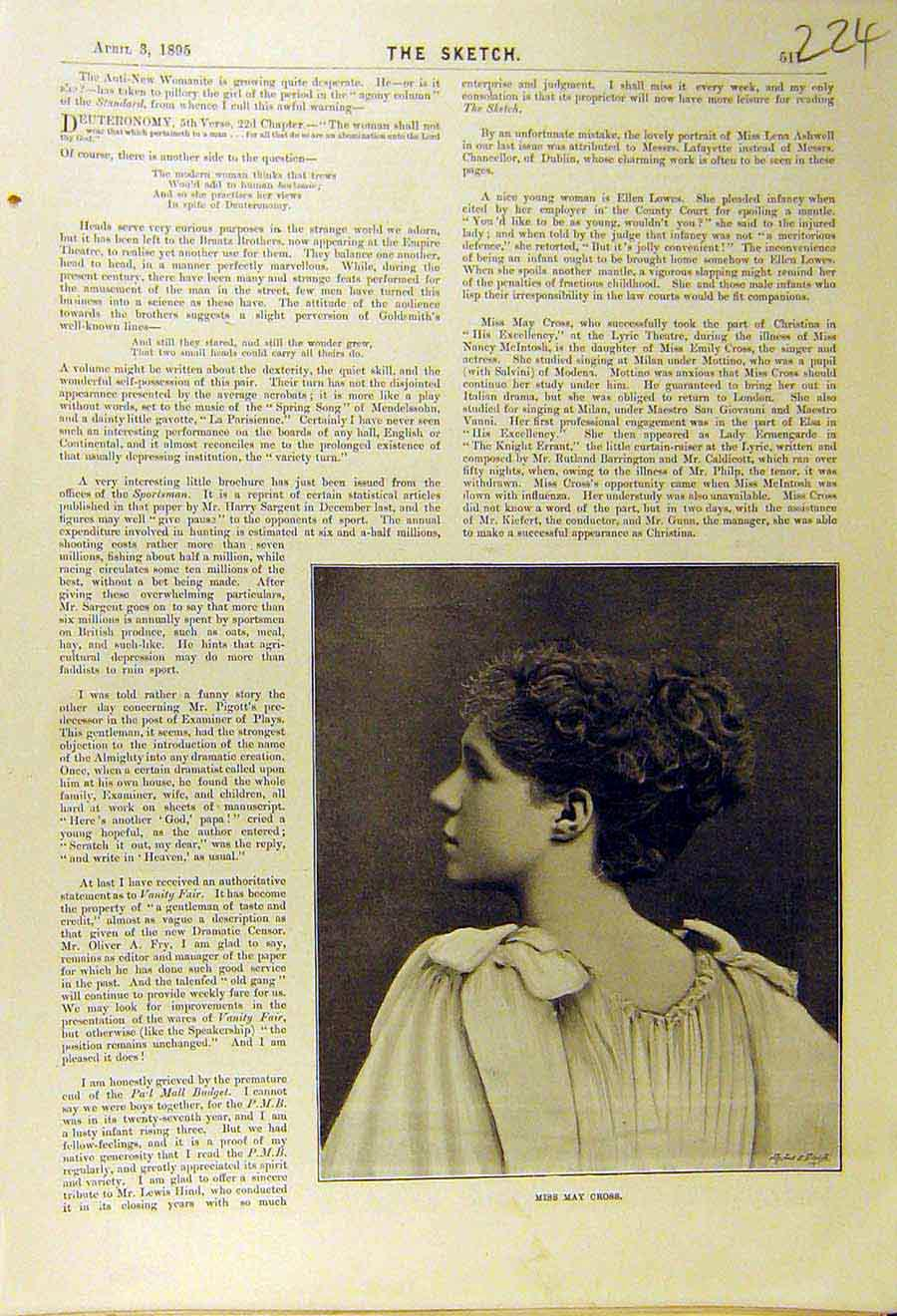 Print 1895 Portrait Photo May-Cross Theatre Actress 248661 Old Original