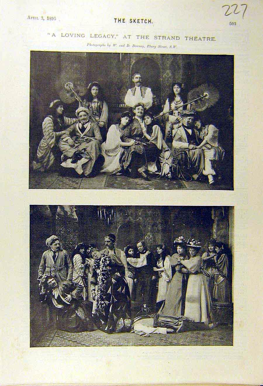 Print 1895 Strand-Theatre Loving-Legacy Scenes Play Actors 278661 Old Original