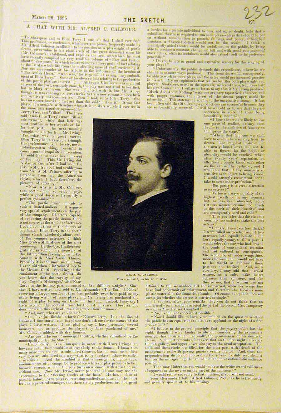 Print 1895 Portrait Calmour Playwright Theatre 328661 Old Original