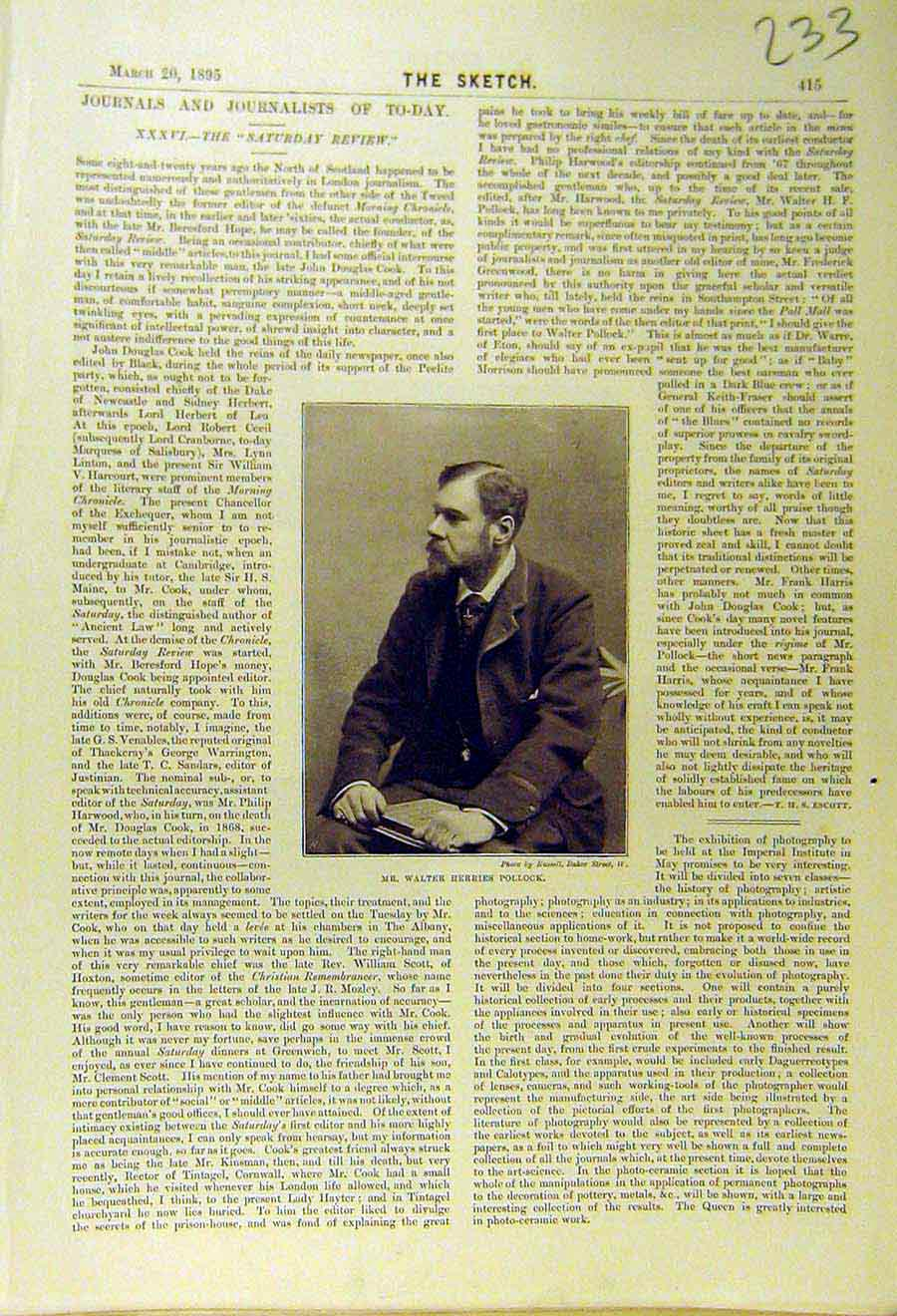 Print 1895 Portrait Walter-Herries-Pollock Journalist 338661 Old Original