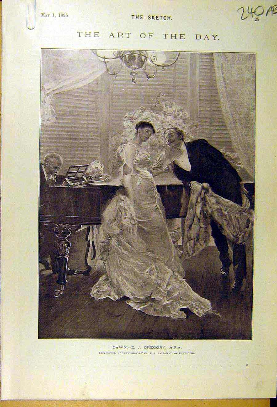 Print 1895 Dawn Gregory Piano Lady Man Theatre Orient Olympia 40A8661 Old Original