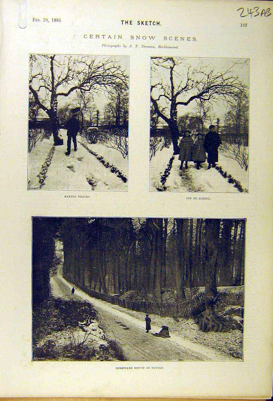 Print 1895 Snow-Scenes School Winter Liverpool Mail Louth 43A8661 Old Original