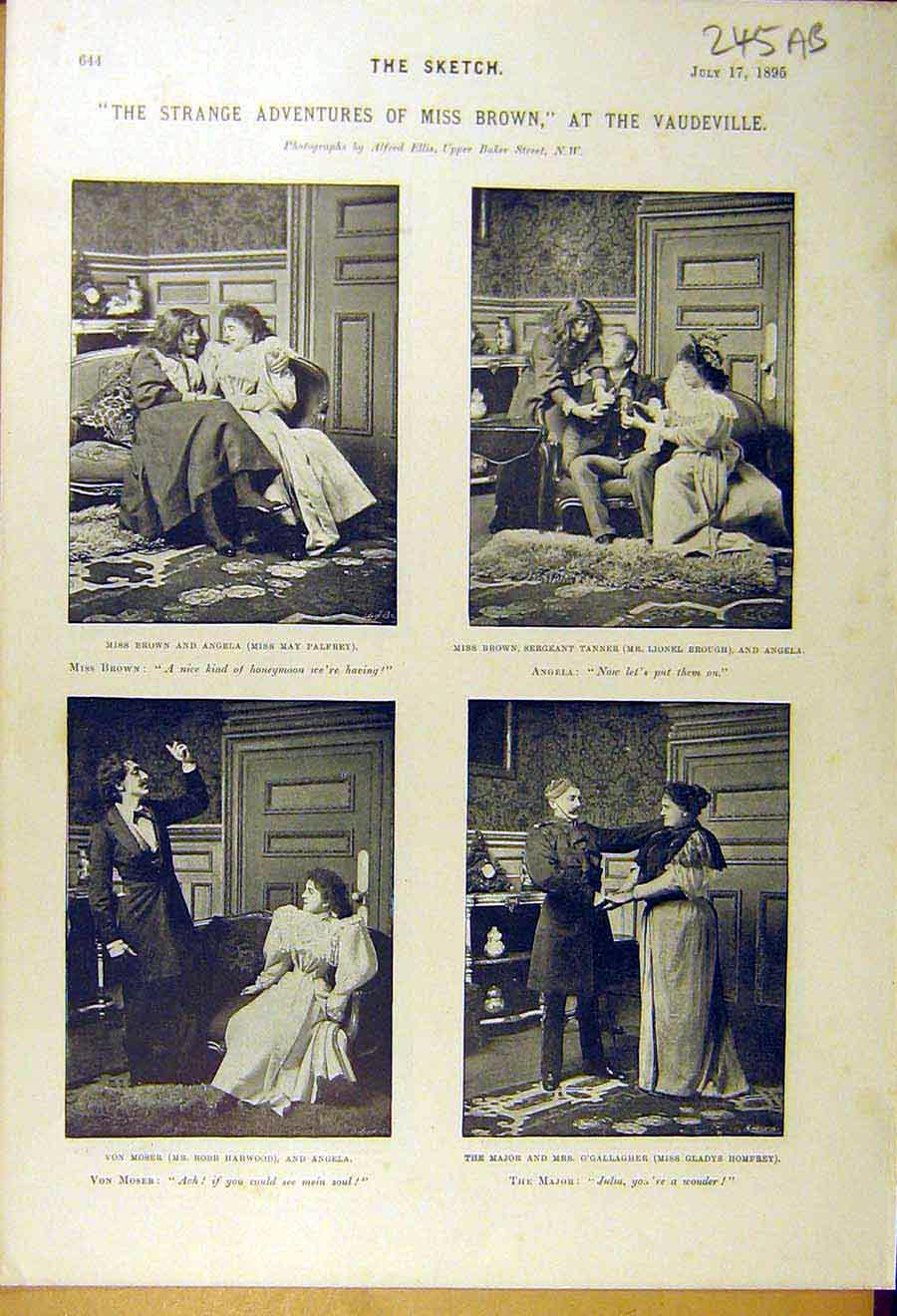 Print 1895 Vaudeville Theatre Adventures Brown Scenes Play 45A8661 Old Original