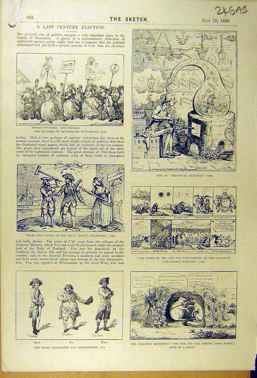 Print 1895 Last-Century Election Sketches Votes Hogarth 46A8661 Old Original
