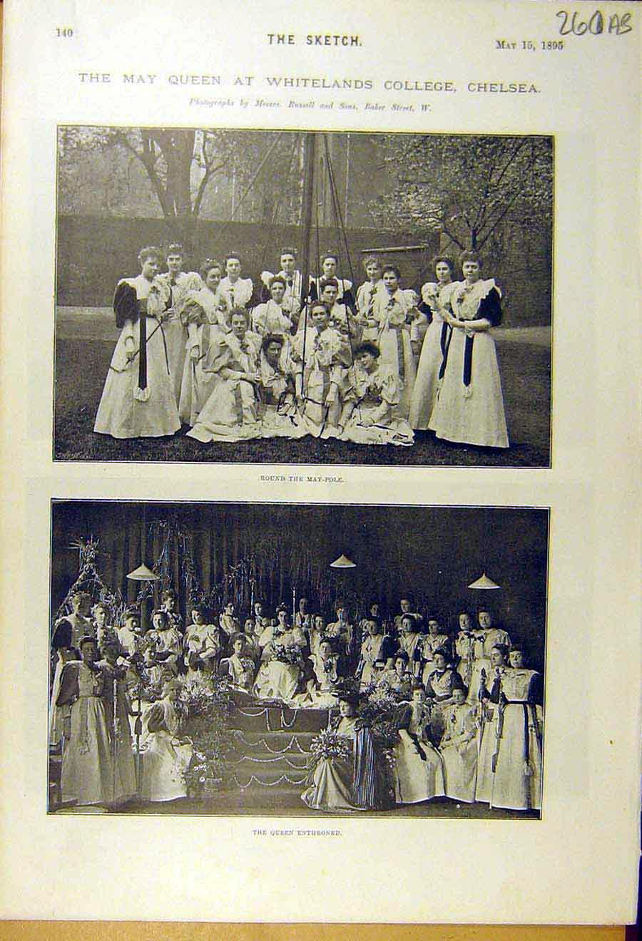 Print 1895 Chelsea Whitelands College May-Queen Bawden 60A8661 Old Original