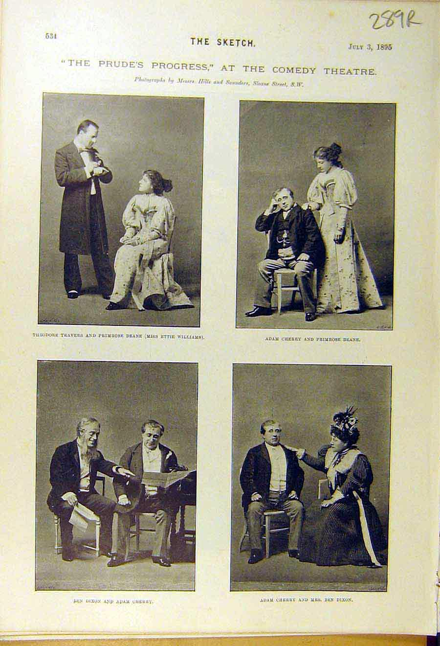 Print 1895 Theatre Comedy Scenes Actors Brough Actress 89R8661 Old Original