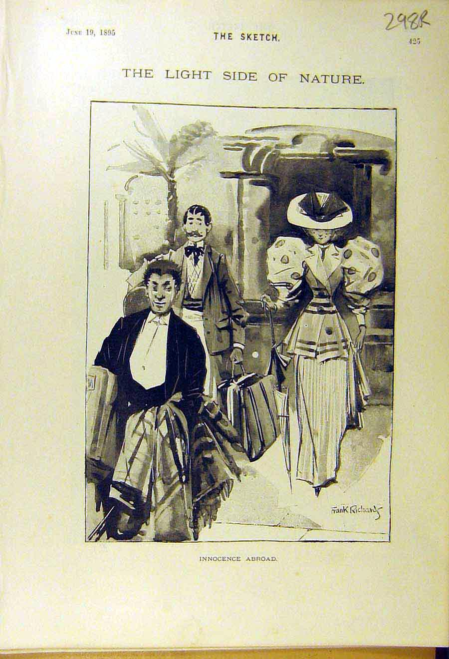 Print 1895 Comedy Sketch People Lady Bird Garden-Fence 98R8661 Old Original