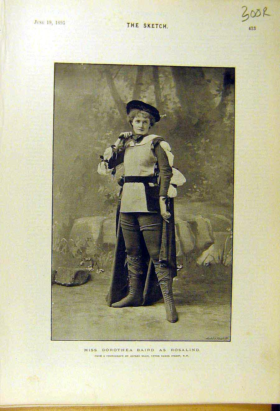 Print 1895 Baird Theatre Actor Sudermann Novelist Playwright 00R8661 Old Original