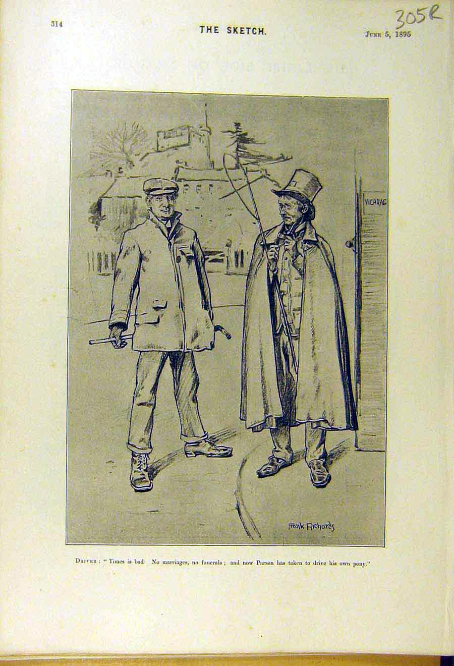 Print 1895 Cab-Driver Comedy Sketch Artist Countrman 05R8661 Old Original
