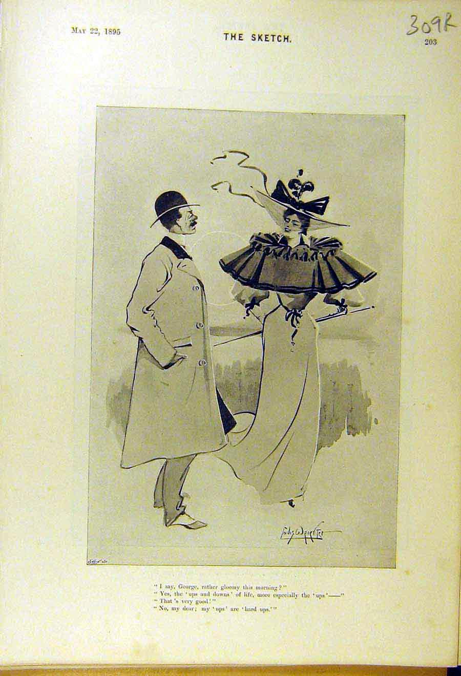 Print 1895 Comedy Sketch Lady Gent Prior Hat Alfred George 09R8661 Old Original