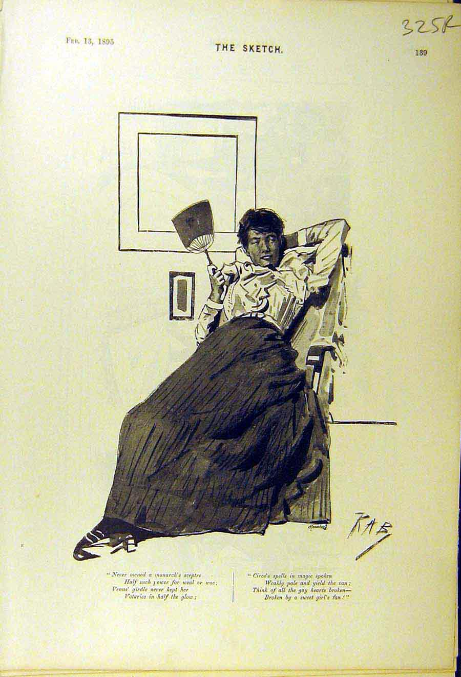 Print 1895 Lady Fan Girl Comedy Sketch Gentleman Cab 25R8661 Old Original