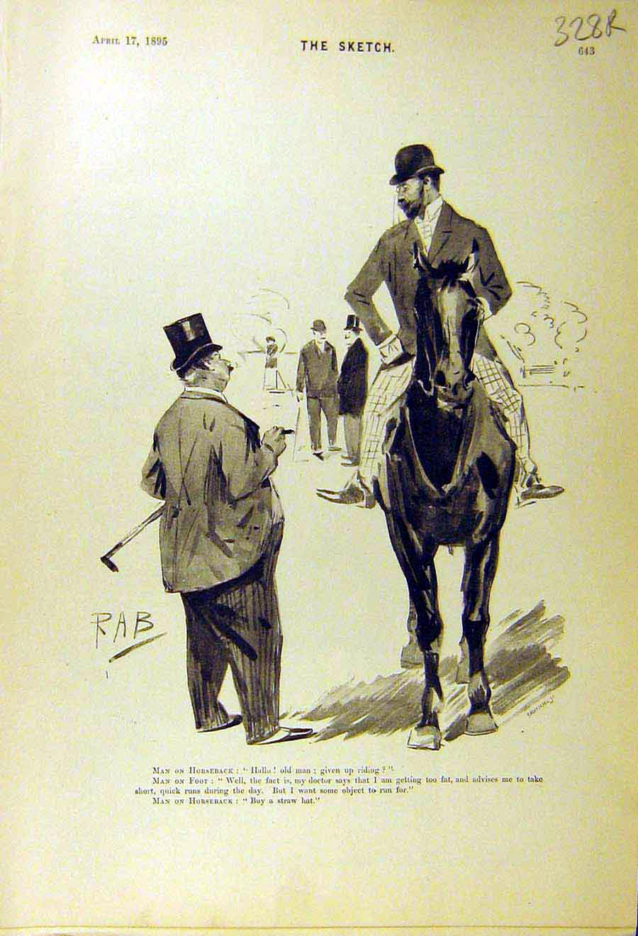 Print 1895 Comedy Sketch Gent Horse Stowaway Bear Animal 28R8661 Old Original