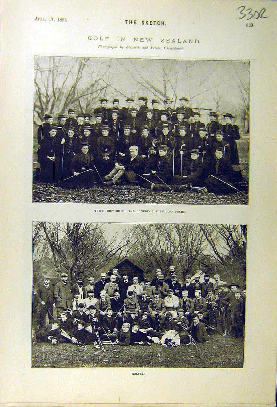Print 1895 Sport Golf New-Zealand Team Golfers Lady Toilet 30R8661 Old Original
