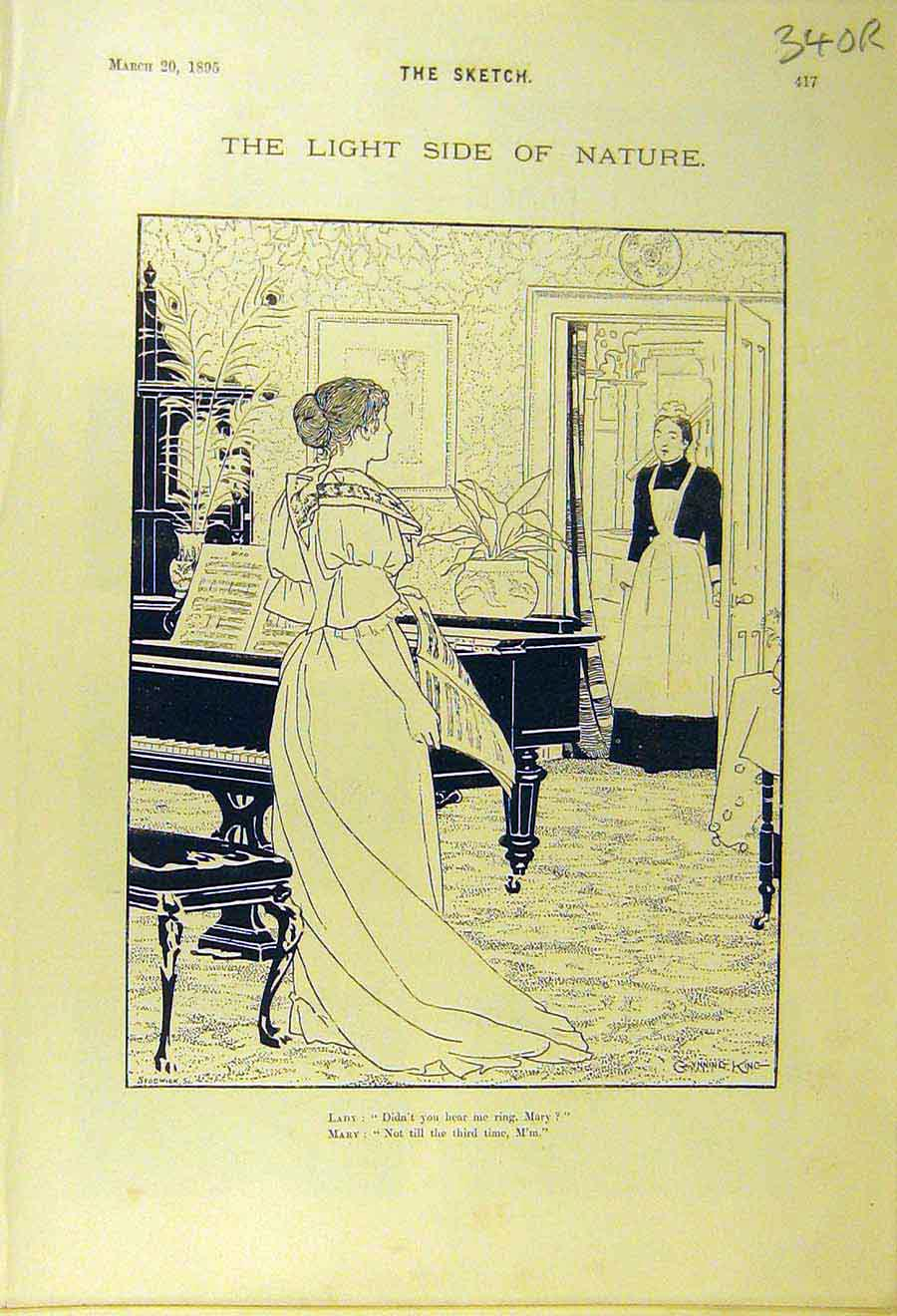 Print 1895 Sketch Mary Piano Maid Concert Music Musician 40R8661 Old Original