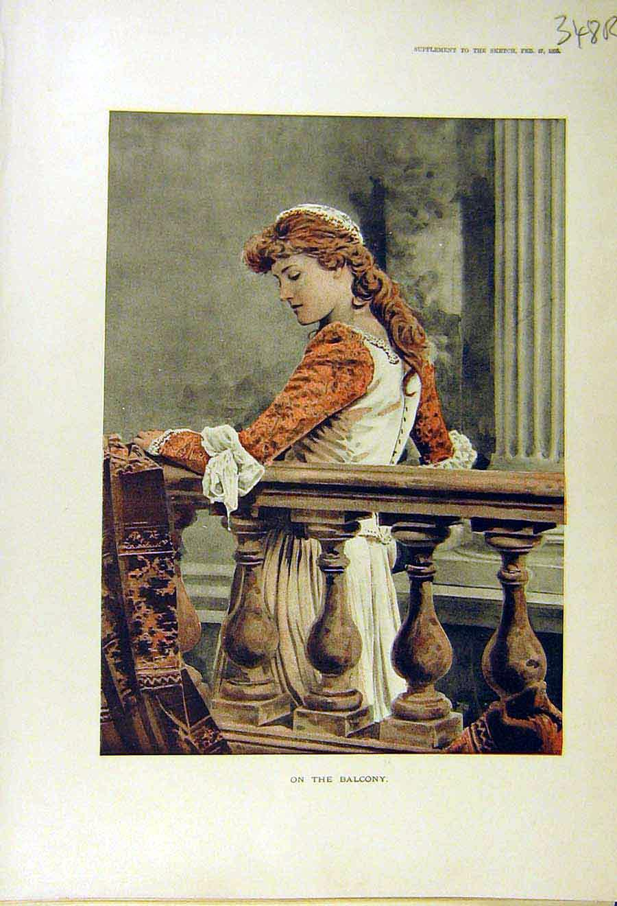 Print 1895 Lady Balcony Portrait Ice-Skating Pond Skaters 48R8661 Old Original