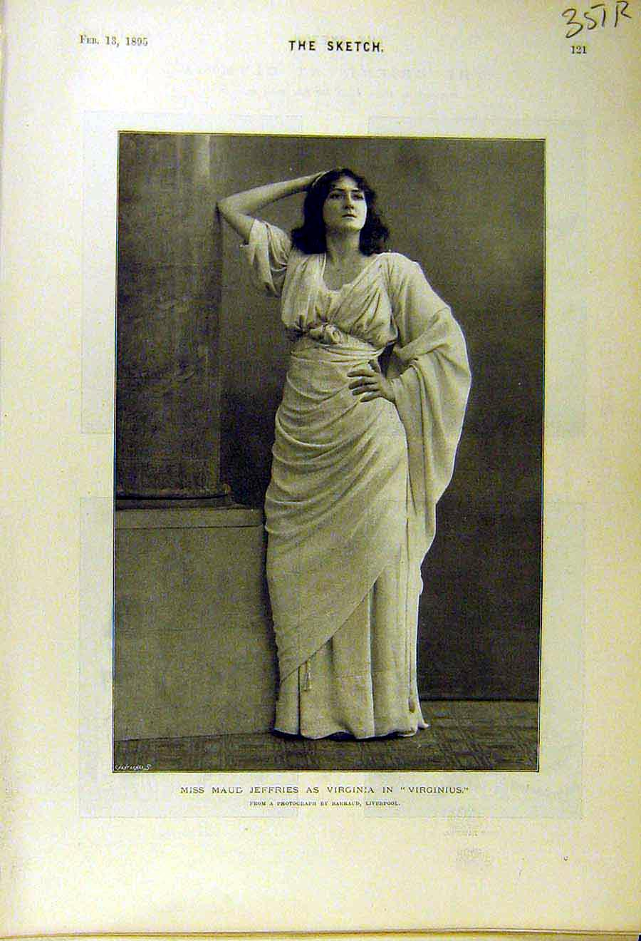 Print 1895 Portrait Maud-Jeffries Virginius Orient Olympia 51R8661 Old Original