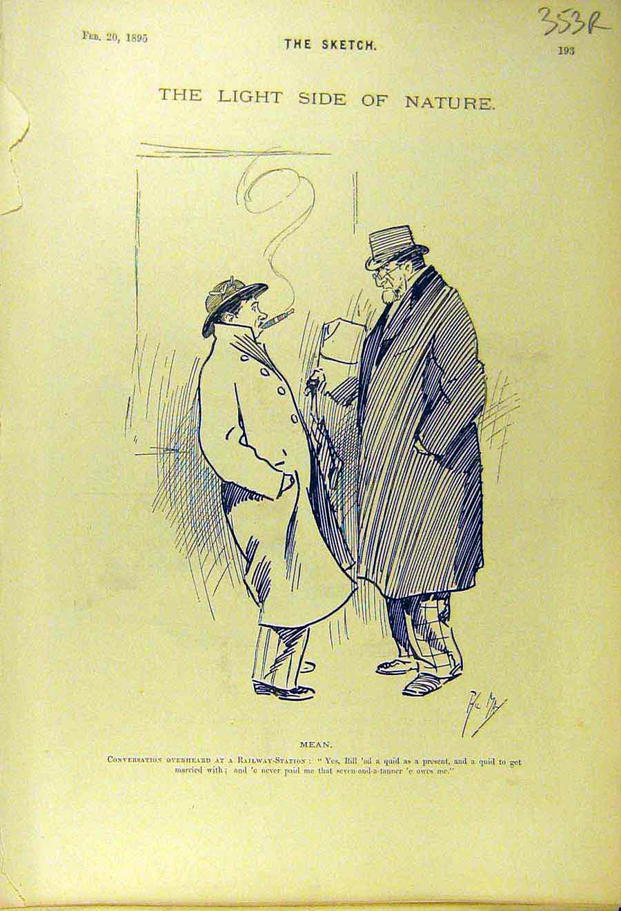 Print 1895 Comedy Sketch Railway Station Gents Staircase 53R8661 Old Original