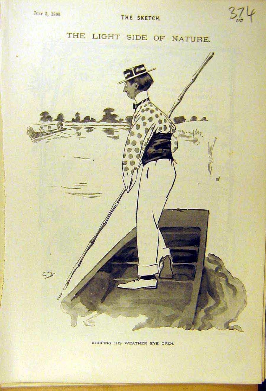 Print 1895 Weather-Eye Punting Boat Man Comedy Sketch 748661 Old Original