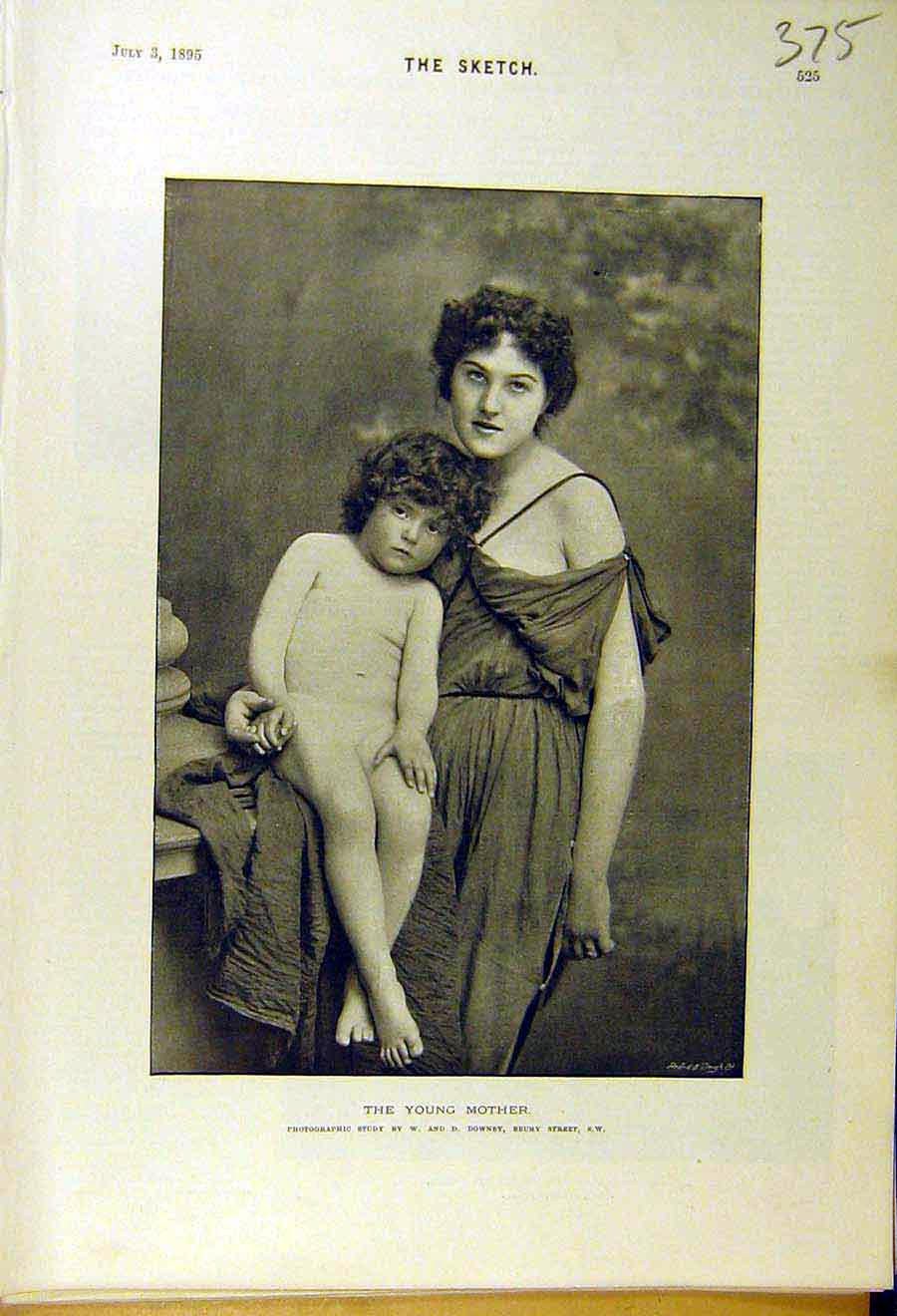 Print 1895 Young-Mother Child Potrait Photo Lady Woman 758661 Old Original