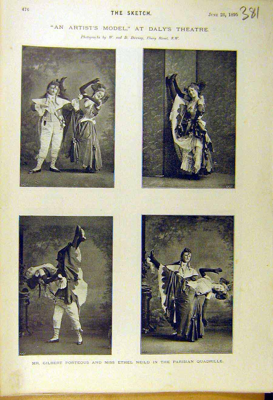 Print 1895 Artist'S Model Scene Daly'S Theatre Porteous Neild 818661 Old Original